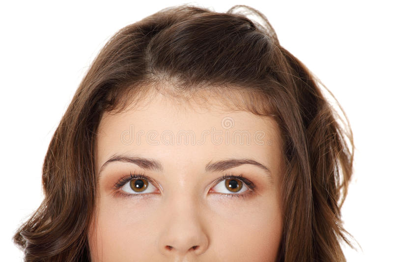 Download Young Teen Girl With Her Eyes Looking Up Royalty Free Stock Photos - Image: 17729018