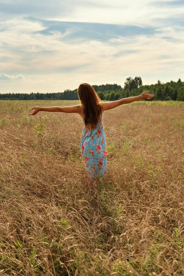 Young woman girl standing with her back with open arms to the sunset on a wheat field in the countryside royalty free stock images