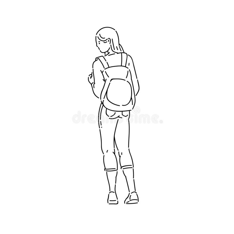 Young teen girl stands looking away with backpack on her back vector line art flat black white isolated illustration. stock illustration