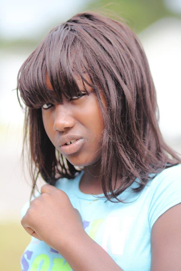 Young teen girl upset stock photo