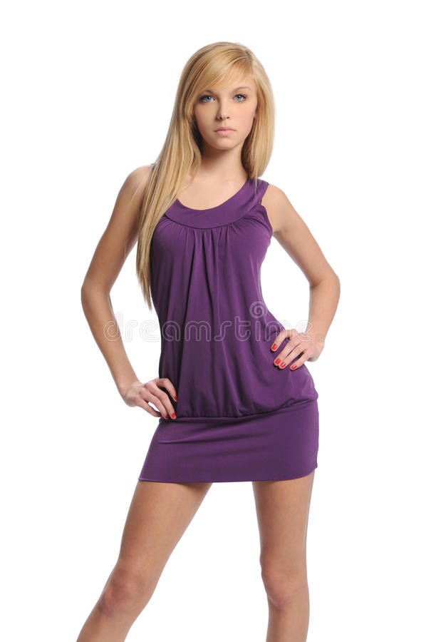 Free Young Teen Woman Wearing A Purple Dress Stock Photography - 14658442