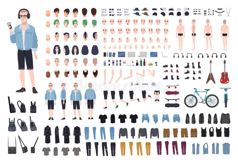 Young teenage boy DIY kit. Set of teenager`s body parts in different positions, various subcultures` attributes, clothes royalty free illustration