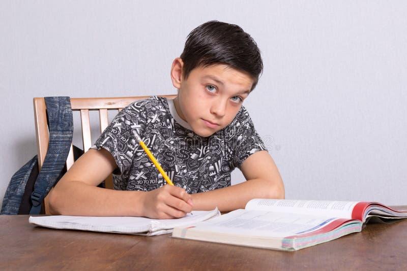 Young teenage boy doing his homework. At home stock photos