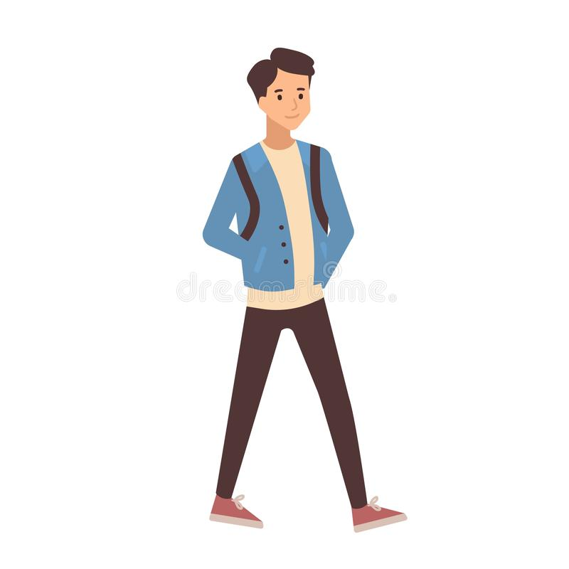 Young teenage boy dressed in casual clothes walking to school. Portrait of pupil, university or college student isolated royalty free illustration