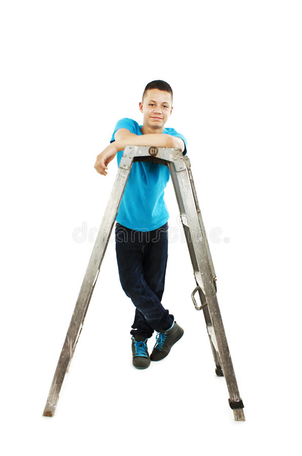 Download Young Teenage Boy Leaning On A Stepladder Stock Photo - Image of lean, home: 27697316