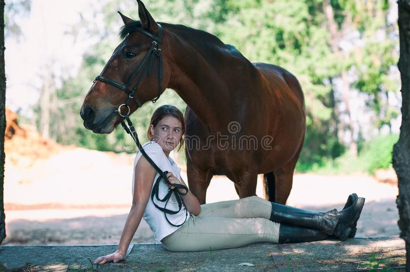Young teenage cheerful girl equestrian hugging her favorite chestnut horse. Vibrant multicolored summertime outdoors horizontal image with filter stock images