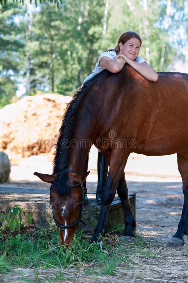 Young teenage cheerful girl equestrian hugging her favorite chestnut horse. Vibrant multicolored summertime outdoors vertical image stock photography