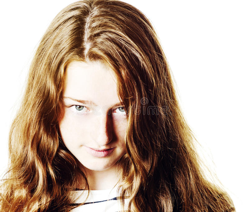 Young teenage girl closeup portrait with different emotions royalty free stock image