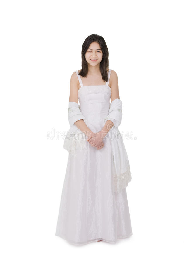Young teenage girl in white dress gown isolated