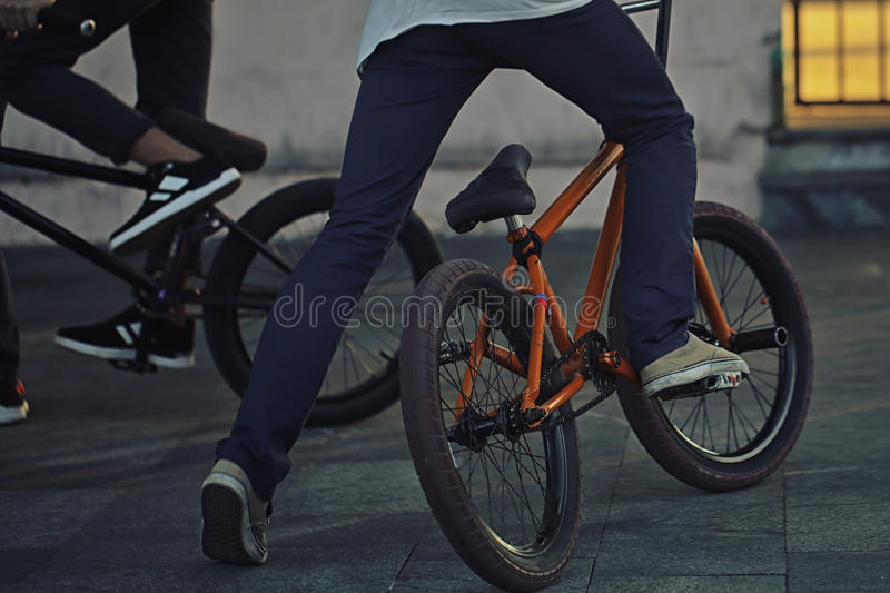 Young teenager bicyclist on bmx royalty free stock photos