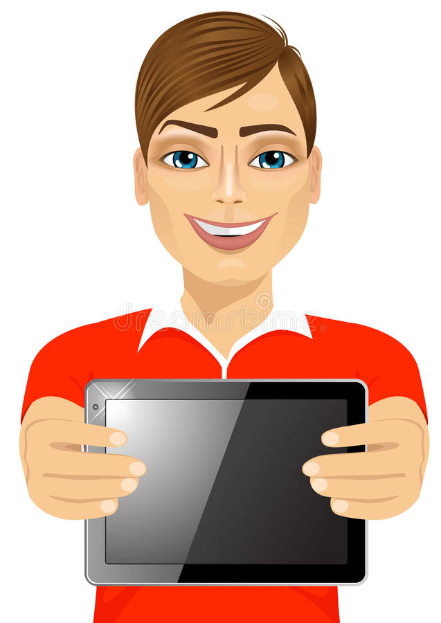 Young teenager boy displaying tablet vector illustration