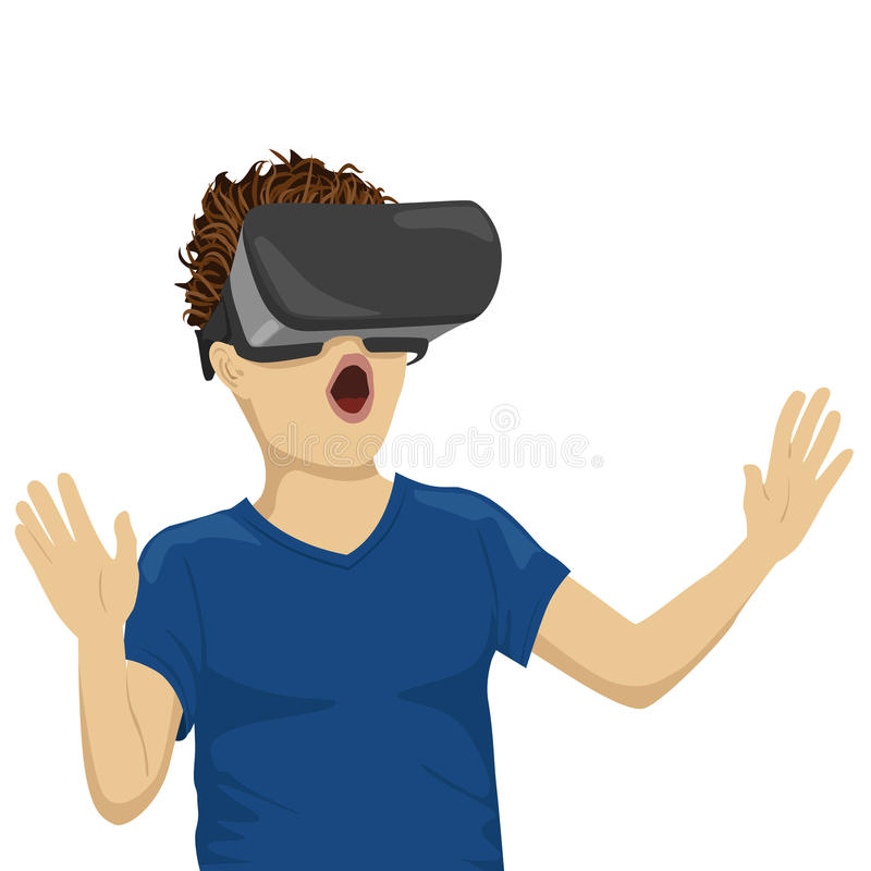 Young teenager boy looking in vr goggles royalty free illustration