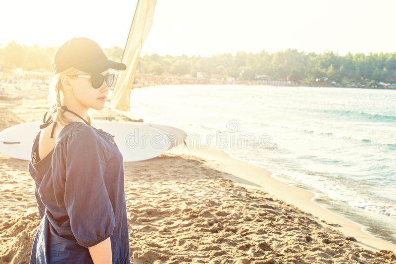 Young teenager girl on sea beach, holiday in Greece.  royalty free stock photography