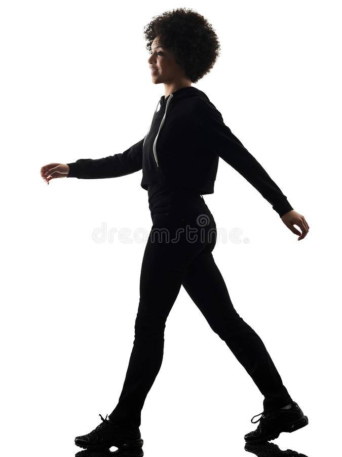 young teenager girl woman walking smiling shadow silhouette isol stock images
