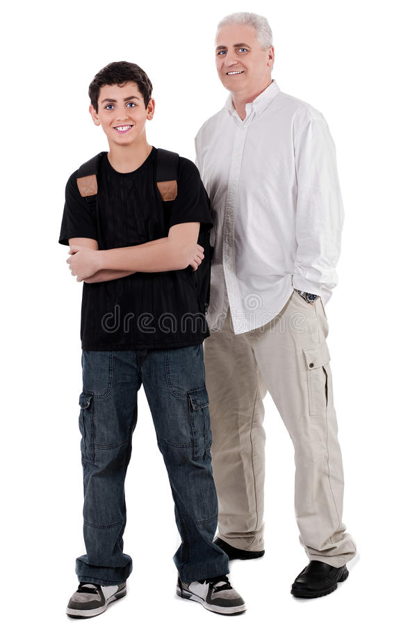 Download Young Teenager With His Grandfather, Full Length Stock Photo - Image: 13715196