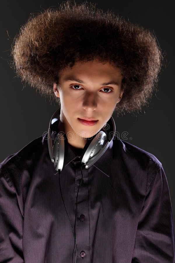 Young Teenager Man Music DJ With Afro Hairstyle Stock Image