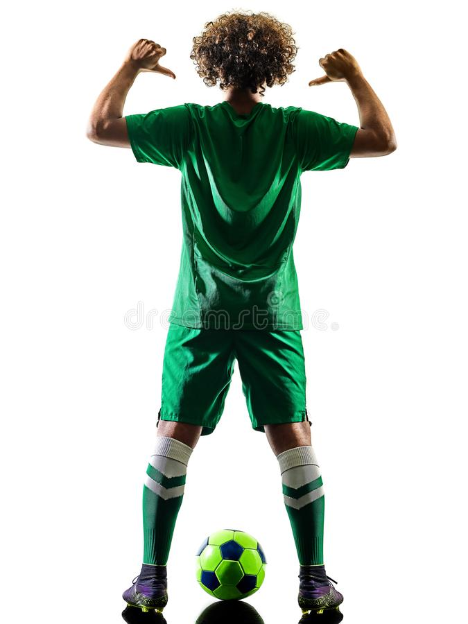 Young teenager soccer player man silhouette isolated royalty free stock images