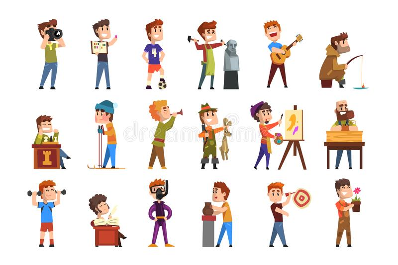 Young teenagers hobby set. Cartoon kids characters. Collecting stamps, football, chess, photography, sports, diving vector illustration