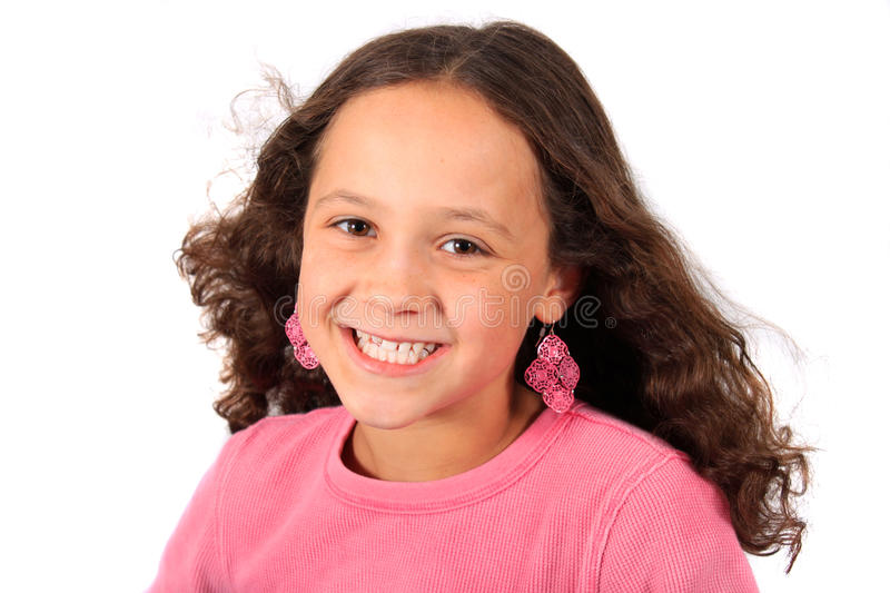 Download Young ten year old girl stock image. Image of hair, teeth - 16374907