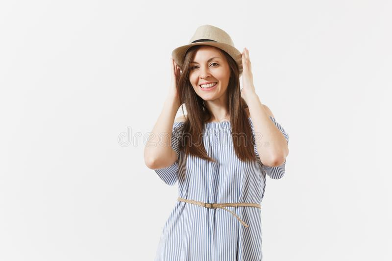 Young tender elegant charming woman dressed blue dress, cute hat with long brunette hair posing isolated on white stock image