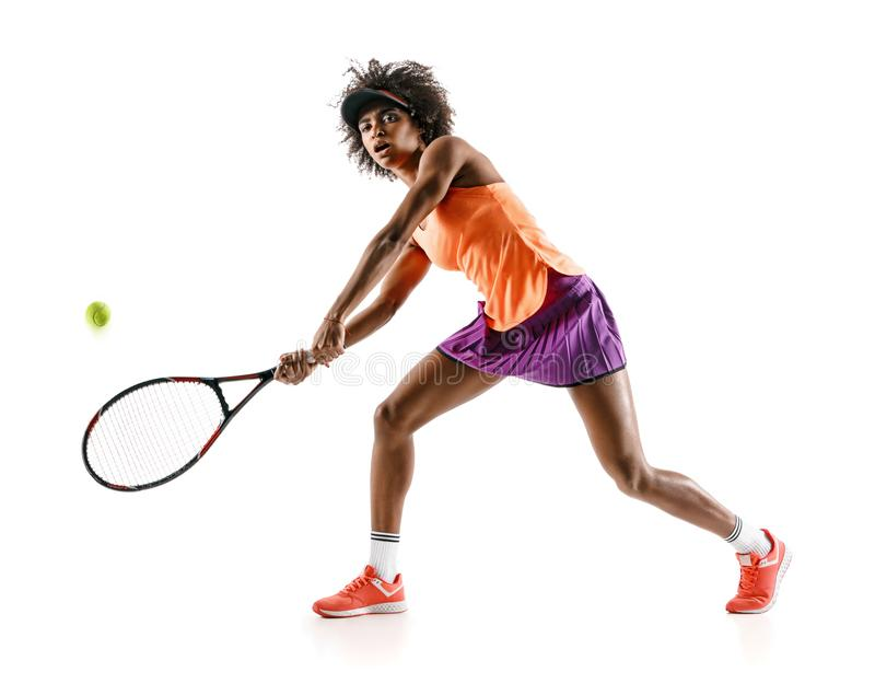 Young tennis girl in silhouette isolated on white background stock images