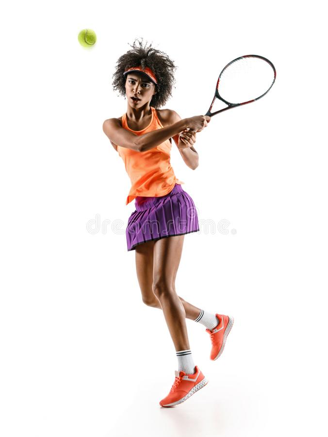 Young tennis girl in silhouette isolated on white background stock photos