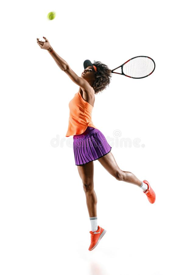 Young tennis girl in silhouette on white background stock photography