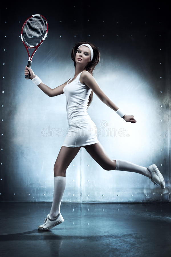 Young tennis player woman stock photos