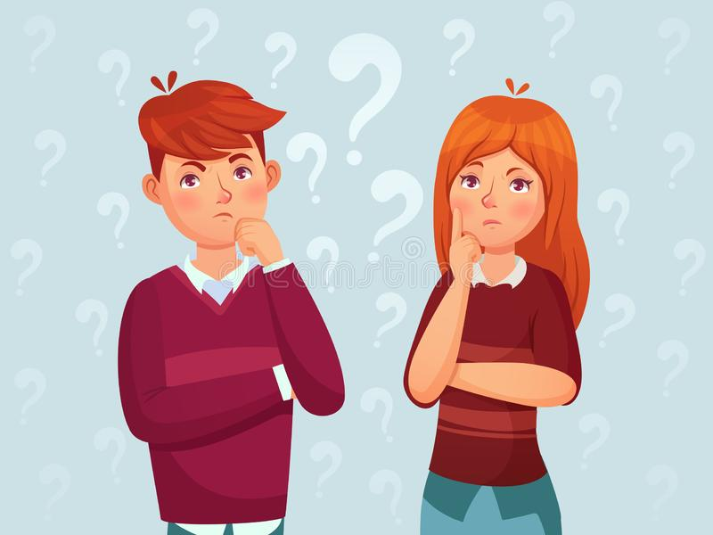 Young thinking couple. Confused teenagers, worried thoughtful students and teenager think cartoon vector illustration. Young thinking couple. Confused teenagers royalty free illustration