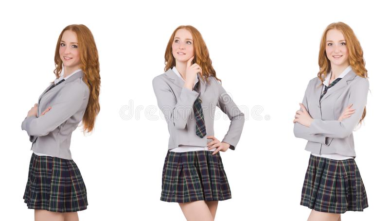 The young thinking student female isolated on white royalty free stock images