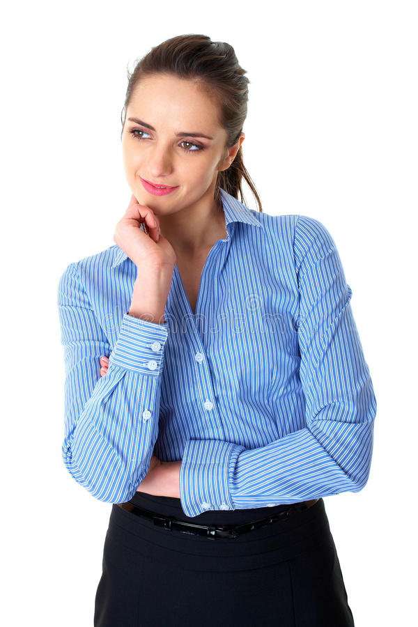 Download Young Thoughtful Female In Blue Shirt Isolated Stock Photo - Image: 18148020