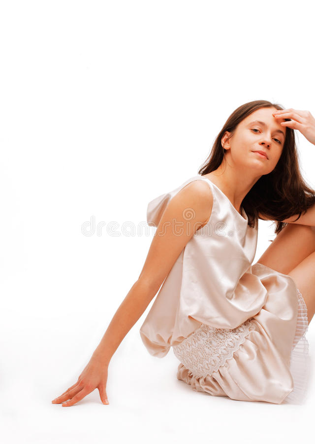 Download Young Thoughtful Female Sitting On A Floor Stock Image - Image: 12661849