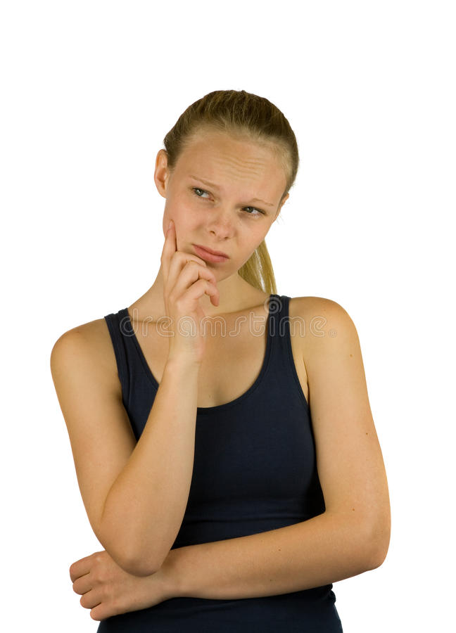 Young thoughtful woman stock image