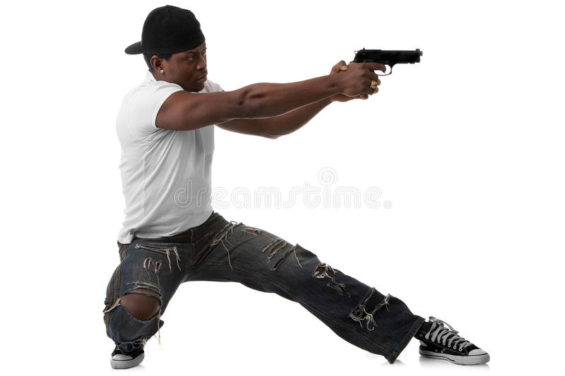 Young Thug With A Gun Royalty Free Stock Photography