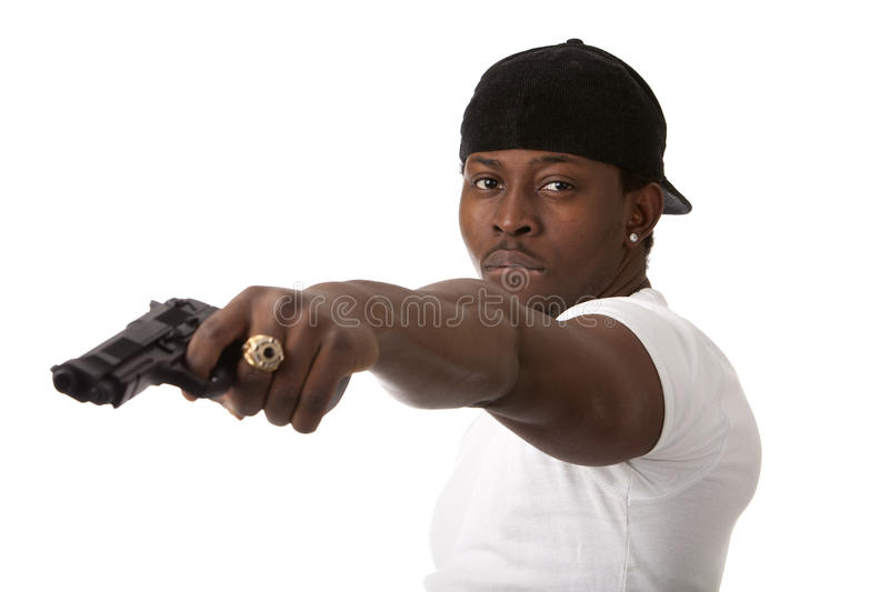 Download Young thug with a gun stock image. Image of background - 24394969