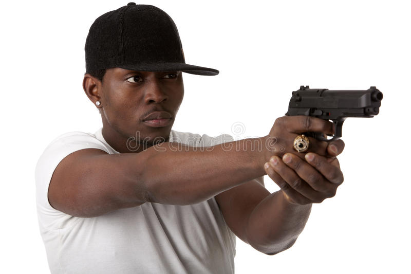 Download Young thug with a gun stock photo. Image of black, bandit - 24928878