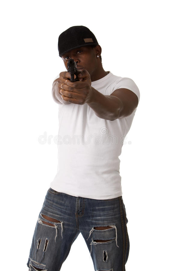 Young Thug With A Gun Stock Photography