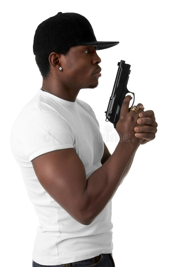 Download Young thug with a gun stock photo. Image of t, posing - 28677404