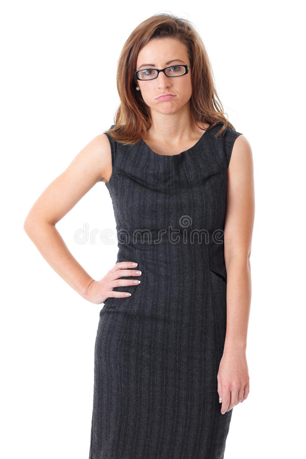 Young tired businesswoman over white background stock photography