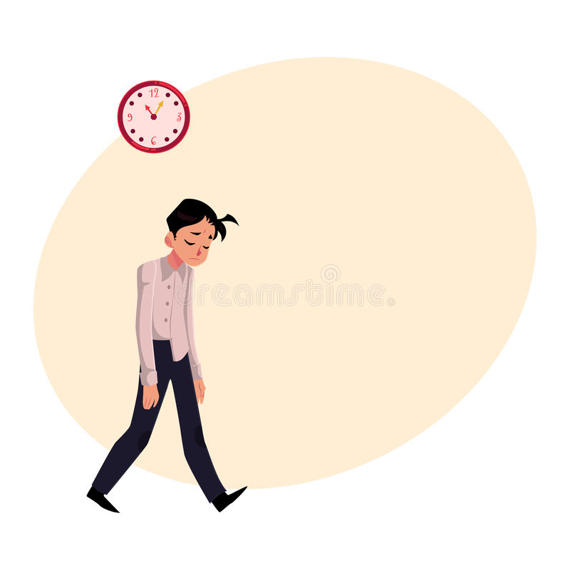Young tired, upset, exhausted businessman feeling a mess, dragging feet stock illustration