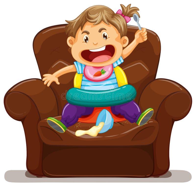 Young toddler making mess on sofa. Illustration royalty free illustration