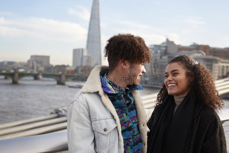Young Tourist Couple Visiting London In Winter royalty free stock images