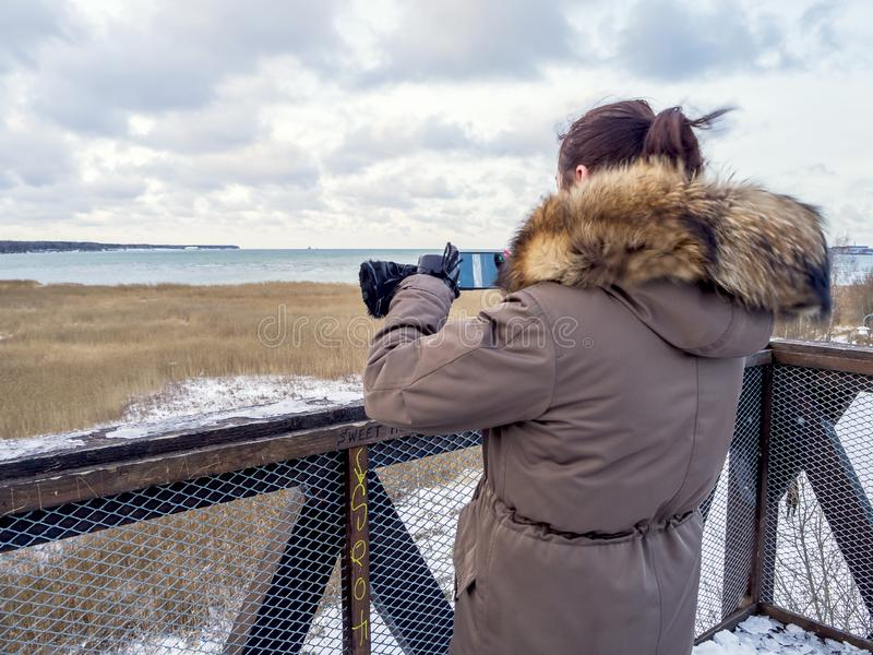 Young tourist girl and Baltic se stock images
