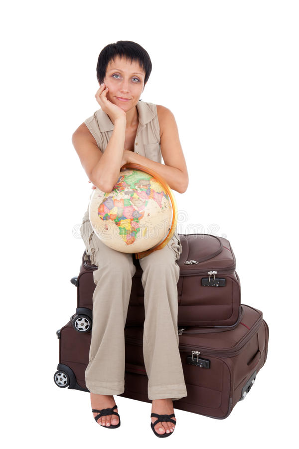 Download Young Tourist Woman Sits On Brown Suitcase Stock Image - Image: 18600139