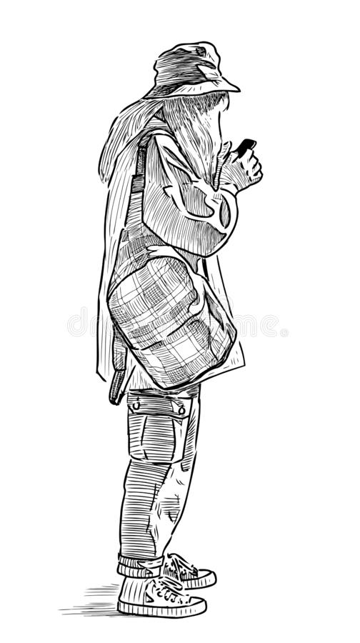 A young townswoman standing with her smartphone stock illustration