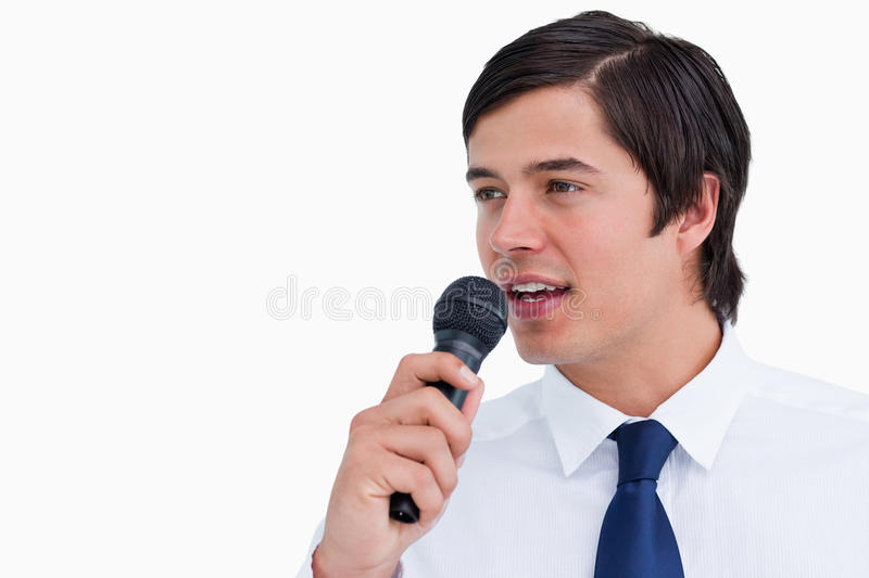 Download Young Tradesman With Microphone Stock Image - Image: 23015695