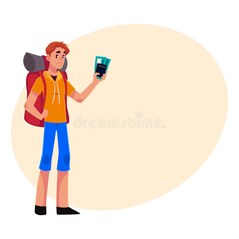 Young traveler, backpacker, hitchhiker holding tickets and passport. Young traveler, backpacker, hitchhiker standing and holding tickets and passport, cartoon vector illustration