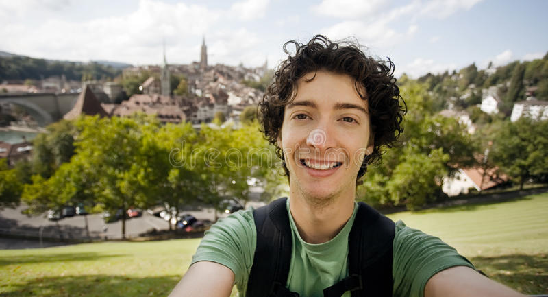 Young traveler, Bern Switzerland stock photography