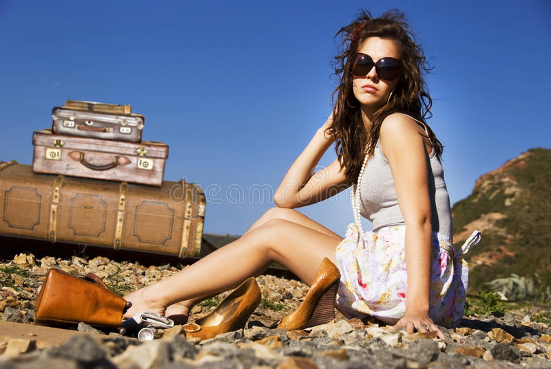 Download Young traveling woman stock photo. Image of departure - 19757582