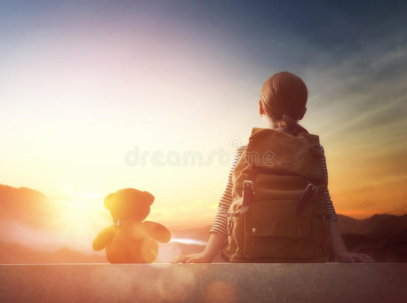 Young traveller with backpack royalty free stock photo